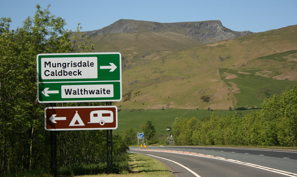 Signpost for Mungrisdale on A66